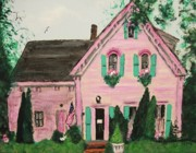 Cape Cod Paintings - Bookstore in Cape Cod by Suzanne  Marie Leclair