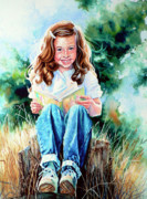 Hand-painted Portraits Paintings - Bookworm by Hanne Lore Koehler