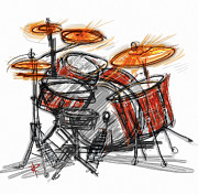 Drum Kit Prints - Boom BaBa Boom Print by Russell Pierce