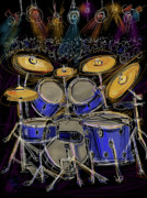 Drums Posters - Boom crash Poster by Russell Pierce