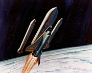 Rockets Photo Posters - Booster Rockets Detaching From Space Poster by NASA / Science Source