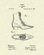 Antique Drawings - Boot Design 1896 Patent Art by Prior Art Design