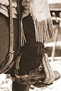 Western Photographs Prints - Boot in Stirrup - Sepia Print by Tam Graff