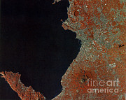 Aerial Photography Framed Prints - Boot Of Italy, Satellite Image Framed Print by Science Source