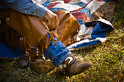 Lifestyle Art Posters - Boots and Quilt on the trail Poster by Toni Hopper