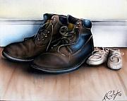 Boots Mixed Media Framed Prints - Boots and Shoes Framed Print by Kevin Gallagher