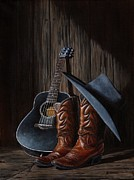 Cowboy Painting Originals - Boots by Antonio F Branco