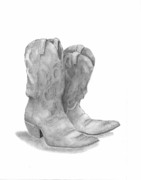 Farmer Drawings - Boots by Barney Hedrick
