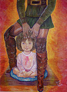 Brown Boots Painting Originals - Boots by Brenda Dulan Moore