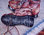 Color Pencil Paintings - Boots by Janie Thompson-lide