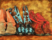 Cowboy Paintings - Boots by Lesley Alexander