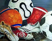 Soccer Painting Framed Prints - Boots N Balls Framed Print by Pete Maier