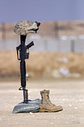 Fallen Soldier Photos - Boots, Rifle, Dog Tags, And Protective by Stocktrek Images