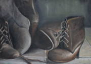 Laces Painting Posters - Boots Poster by Sarah Ashbaugh