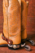 Stitching Prints - Boots With Spurs Print by Garry Gay