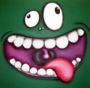Hanging Pastels Originals - bOOyAA mONSTER by Mara Morea