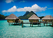 Polynesia Prints - Bora Bora Bunaglows Print by Doug Sturgess