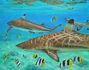 Sharks Paintings - Bora Bora lagoon by Jennifer Belote