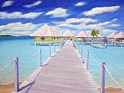 Beach Hut Paintings - Bora Bora by Patrick Parker