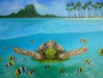 Ocean Turtle Paintings - Bora Bora turtle by Jennifer Belote