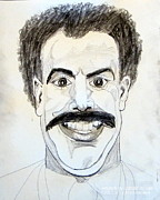 Journalist Drawings Framed Prints - Borat Sacha Baron Cohen Portrait Drawing Celebrity VIP SuperStar Mega Box Office Comedy Genious Framed Print by Donald William