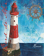Red White Blue Paintings - Bord de Mer by Debbie DeWitt