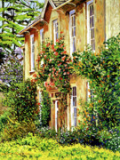 Flowering Vines Posters - Bordeaux Garden House Poster by David Lloyd Glover