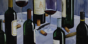 Wine Bottle Paintings - Bordeaux by Geoff Powell