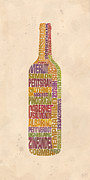 Pinot Art - Bordeaux Wine Word Bottle by Mitch Frey