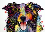 Graffiti Mixed Media Metal Prints - Border Collie 2 Metal Print by Dean Russo