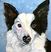 Collie Drawings Posters - Border Collie Poster by Susan A Becker