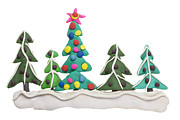 Shiny Sculptures - Border from  Christmas  fir trees by Aleksandr Volkov