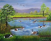 Collie Painting Framed Prints - Bordie Collie Chasing the Geese SOLD Framed Print by Ruth  Housley