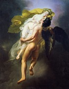 1822 Paintings - Boreas abducting Oreithyia by Joseph Ferdinand Lancernon