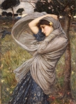 Scarf Acrylic Prints - Boreas Acrylic Print by John William Waterhouse
