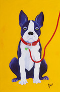Karen Dukes Acrylic Prints - Bored Boston Terrier Acrylic Print by Karen Dukes