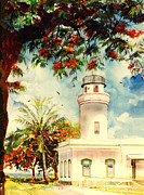 Caribbean Sea Paintings - Borinquen Lighthouse Aguadilla Puerto Rico by Estela Robles