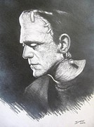 Boris Drawings - Boris Karloff as Frankensteins Monster by Darrel Bevan