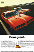 Poster From Digital Art Metal Prints - Born great. 1969 Pontiac GTO The Judge Metal Print by Digital Repro Depot