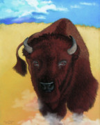 Cow Pastels Posters - Born of Thunder Poster by Tracy L Teeter