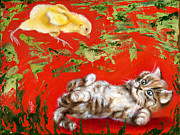 Humorous Cat Paintings - Born to be wild by Hiroko Sakai