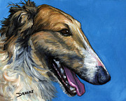 Dog Art Paintings - Borzoi Profile by Dottie Dracos
