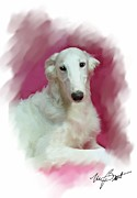 White Russian Digital Art Posters - Borzoi Pup Poster by Maxine Bochnia