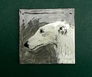 Portraits Ceramics Originals - Borzoi Study On Tile 4 X 4  by Phillip Dimor