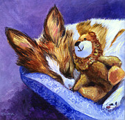 Toy Animals Prints - Bos and the Lion - Papillon Print by Lyn Cook