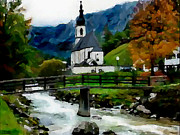 Slavic Painting Posters - Bosnian Country Church Poster by Jann Paxton