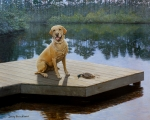 Yellow Labrador Retriever Paintings - Boss by Doug Strickland