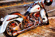 Bike Rider Digital Art - Boss Hog . Harley-Davidson .  Painterly . 7D12757 by Wingsdomain Art and Photography