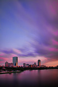 River. Clouds Prints - Boston Afterglow Print by Rick Berk