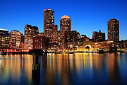 Boston Harbor Framed Prints - Boston Aglow Framed Print by Rick Berk